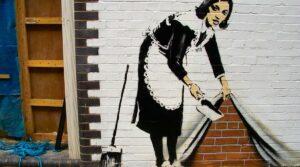 locandina di Mostra All About Banksy al Chiostro del Bramante a Roma
